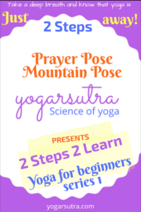 2 Steps 2 Learn yoga for beginners is an effort to simply yoga practice for you. In the first series you will learn two very basic but important yoga poses- Prayer Pose and Mountain Pose.