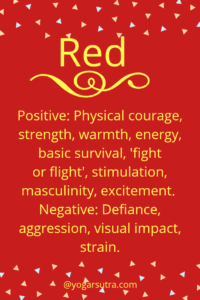 #Color Psychology. Red- Positive: Physical courage, strength, warmth, energy, basic survival, 'fight or flight', stimulation, masculinity, excitement. Negative: Defiance, aggression, visual impact, strain.