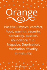 #Color Psychology. Orange- Positive: Physical comfort, food, warmth, security, sensuality, passion, abundance, fun. Negative: Deprivation, frustration, frivolity, immaturity.