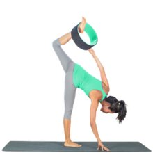 Yoga Poses with Yoga Wheel: Triangle on wheel