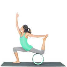 Yoga Poses with Yoga Wheel: Warrior on wheel