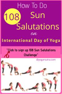 108 Sun Salutations Challenge . Sun Salutations Cycle with 12 Yoga Poses