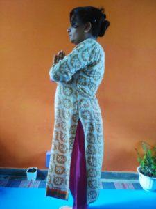 Prayer pose aka Pranamasana in 108 sun Salutations Challenge