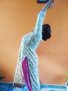 Raised hand pose.#Urdhva hastasana in Sun Challenge