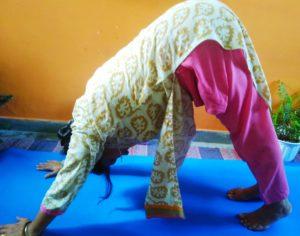 Downward facing dog pose aka Adhomukh swanasana. An important pose in Sun Salutations Challenge cycle