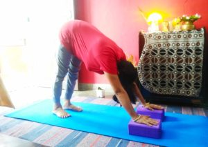 Downward facing dog pose using #yoga blocks