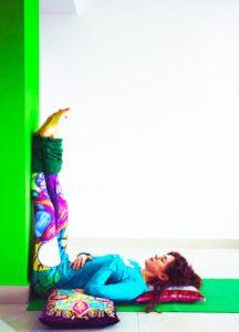 Leg up the wall yoga posture or Viprit Karni