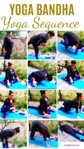 Yoga poses with yoga bandhas, picture collage
