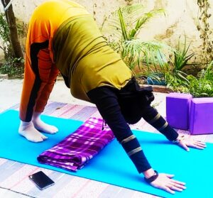 Downward facing dog posture to focus your brain