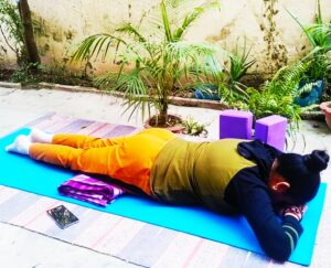 Crocodile pose for makarasana to Boost Your focus concentration and productivity