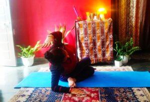 Gomukhasana bend for a healthy liver